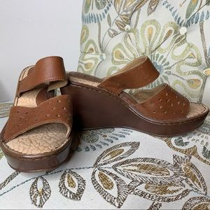 boc Shoes - BOC Born Strap Sandals Shoes Wedge Leather Size 8